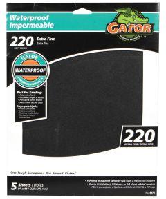 Gator 220 Grit Waterproof Extra Fine Sandpaper, 11 in. x 9 in., 5 Pack
