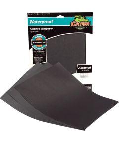 Gator Assorted Grit Waterproof Sandpaper, 11 in. x 9 in., 3 Pack