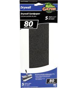 Gator 80 Grit Medium Drywall Sandpaper, 11-1/4 in. x 4-1/4 in., 5 Pack