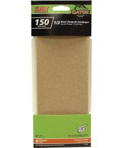 Gator 150 Grit 1/3 Sheet Clamp-On Fine Sandpaper, 9 in. x 3-2/3 in., 6 Pack