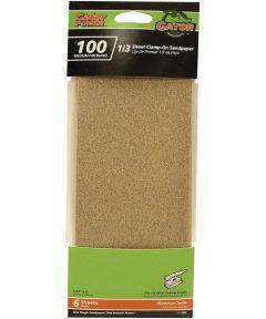 Gator 100 Grit 1/3 Clamp-On Medium Sandpaper, 9 in. x 3-2/3 in., 6 Pack
