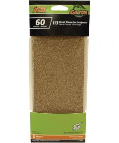 Gator 60 Grit 1/3 Sheet Clamp-On Coarse Sandpaper, 9 in. x 3-2/3 in., 60 Grit, 6 Pack