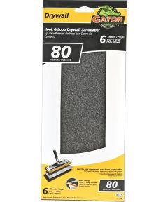 Gator 80 Grit Hook & Loop Medium Drywall Sandpaper, 4-1/2 in. x 10-1/2 in., 6 Pack