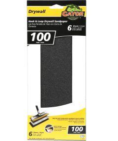 Gator 100 Grit Hook & Loop Fine Drywall Sandpaper, 4-1/2 in. x 10-1/2 in., 6 Pack