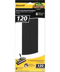Gator 120 Grit Hook & Loop Extra Fine Drywall Sandpaper, 4-1/2 in. x 10-1/2 in., 6 Pack