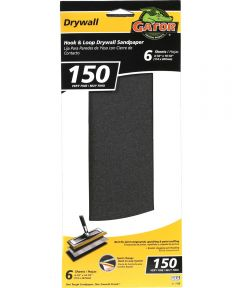 Gator 150 Grit Hook & Loop Very Fine Drywall Sandpaper, 4-1/2 in. x 10-1/2 in., 6 Pack