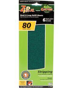 Gator 80 Grit Zip XL Hook & Loop Refill Coarse Sandpaper Sheets, 9-7/8 in. x 3-7/8 in., 6 Pack