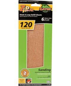 Gator 120 Grit Zip XL Sander Step-2 Hook & Loop Refill Medium Sandpaper, 9-7/8 in. x 3-7/8 in., 6 Pack