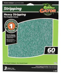 Gator 60 Grit Premium Step-1 Coarse Sandpaper for Heavy Stripping, 11 in. x 9 in., 3 Pack