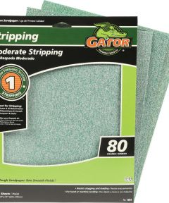 Gator 80 Grit Premium Step-1 Coarse Sandpaper for Moderate Stripping, 11 in. x 9 in., 3 Pack