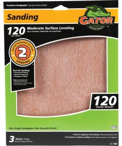 Gator 120 Grit Premium Step-2 Medium Sandpaper for Moderate Surface Leveling, 11 in. x 9 in., 3 Pack