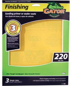 Gator 220 Grit Premium Step-3 Fine Sandpaper for Sanding Primer or Sealer Coats, 11 in. x 9 in., 3 Pack