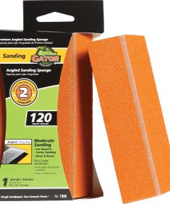 Gator 120 Grit Premium Step-2 Angled Medium Sanding Sponge for Moderate Sanding, 3 in. x 5 in. x 1 in.