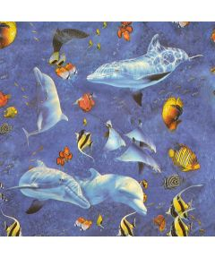 54 in. Vinyl Lassen Sea Fishes Magic Cover Flannel (Sold Per Foot)