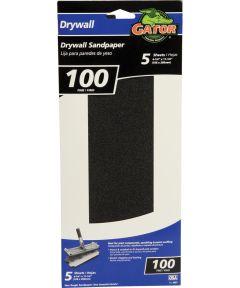 Gator 100 Grit Fine Drywall Sandpaper, 11-1/4 in. x 4-1/4 in., 5 Pack