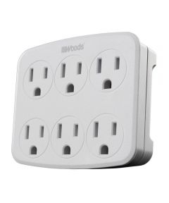 6-Outlet Grounded Wall Tap With Phone Cradle