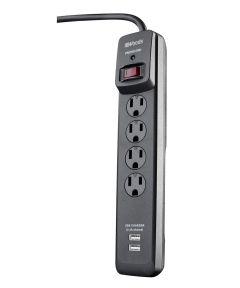 4 Outlet Black 2 USB Surge Protector