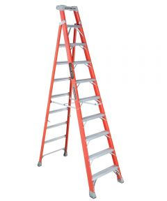 Louisville 10 ft. Cross Step Fiberglass Step To Shelf Ladder, 300 lb. Load