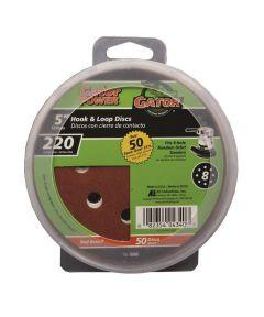 Gator 220 Grit  5 in. Hook & Loop Fine Sandpaper Discs for 8-Hole Random Orbit Sanders, 50 Pack