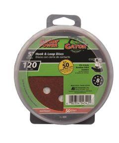 Gator 120 Grit  5 in. Hook & Loop Fine Sandpaper Discs for 8-Hole Random Orbit Sanders, 50 Pack