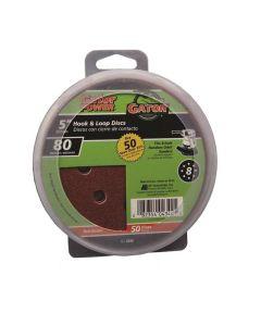 Gator 80 Grit  5 in. Hook & Loop Fine Sandpaper Discs for 8-Hole Random Orbit Sanders, 50 Pack