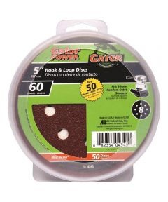 Gator 60 Grit  5 in. Hook & Loop Fine Sandpaper Discs for 8-Hole Random Orbit Sanders, 50 Pack
