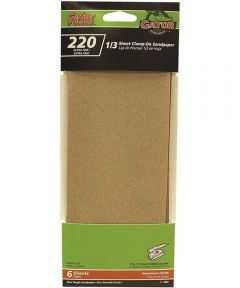Gator 220 Grit 1/3 Sheet Clamp-On Extra Fine Sandpaper, 9 in. x 3-2/3 in., 6 Pack