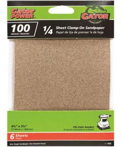 Gator 100 Grit 1/4 Sheet Clamp-On Medium Sandpaper, 5-1/2 in. x 4-1/2 in., 6 Pack