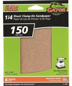 Gator 150 Grit 1/4 Sheet Clamp-On Fine Sandpaper, 5-1/2 in. x 4-1/2 in., 6 Pack