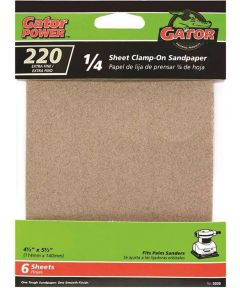 Gator 220 Grit 1/4 Sheet Clamp-On Extra Fine Sandpaper, 5-1/2 in. x 4-1/2 in., 6 Pack