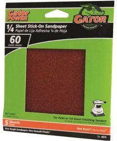 Gator 60 Grit 1/4 Sheet Stick-On Coarse Sandpaper, 4-1/2 in. x 4-1/2 in., 5 Pack