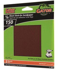 Gator 150 Grit 1/4 Sheet Stick-On Fine Sandpaper, 4-1/2 in. x 4-1/2 in., 5 Pack