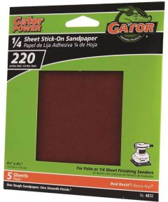 Gator 220 Grit 1/4 Sheet Stick-On Extra Fine Sandpaper, 4-1/2 in. x 4-1/2 in., 5 Pack