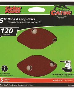 5 in. 5hole Hook/loop 120grit 5 Pack