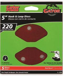 5 in. 220 Grit 5hole Hk/loop 5 Pack