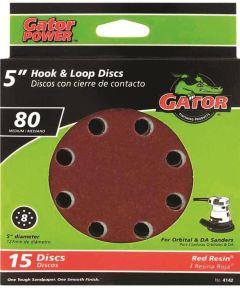 5 in. 80 Grit 8hole Hk/loop 15 Pack