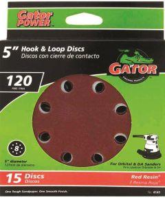 5 in. 120 Grit 8hole Hk/loop 15 Pack
