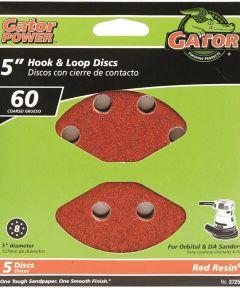 5 in. 8hole Hook/loop 60 Grit 5 Pack