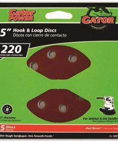 5 in. 220 Grit 8hole Hk/loop 5 Pack
