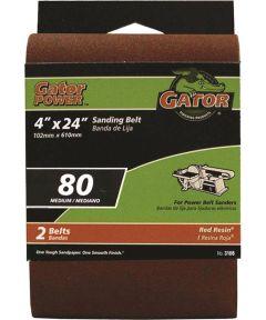 4x24 in. 80 Grit Aluminum Oxide Belt 2 Pack