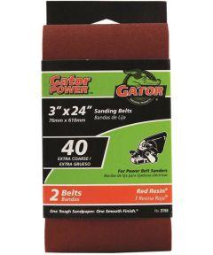 3x24 in. 40 Grit Aluminum Oxide Belt 2 Pack