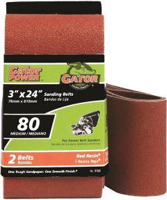 3x24 in. 80 Grit Aluminum Oxide Belt 2 Pack