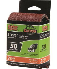 3x21 in. 50 Grit Aluminum Oxide Belt 2 Pack