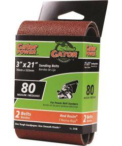 3x21 in. 80 Grit Aluminum Oxide Belt 2 Pack