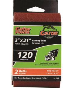 3x21 in. 120 Grit Aluminum Oxide Belt 2 Pack