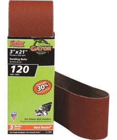 3x21 in. 120 Grit Aluminum Oxide Belt 5 Pack