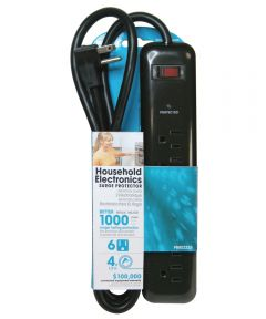 6 Outlet Black 1000J Surge Protector W/4' Cord