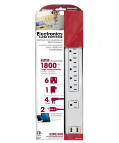 6-Outlet 14/3 SJT White Electronics Surge Protector