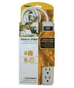 6 Outlet White Power Strip With 8' Cord