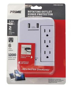 125V 6-Outlet & 3.4A 2-USB Port Surge Protector